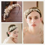 Elegant women handmade hairbands crystal women golden tiara bride wedding <b>jewelry</b> pearl hair ornaments party dress accessories