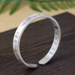 FNJ 925 <b>Silver</b> Buddha Bangle Vintage Open Size 55mm Adjustable Original S925 <b>Sterling</b> <b>Silver</b> Bangles for Women <b>Jewelry</b>