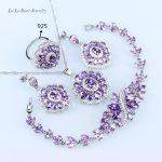 L&B Purple Crystal White Zircon 925 Stamp <b>Silver</b> Color jewelry Sets For Women Earrings/<b>Bracelet</b>/Pendant/Necklace/Ring