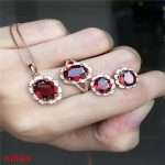 KJJEAXCMY boutique jewels 925 pure <b>silver</b> inlaid with natural garnet female pendant ring <b>earrings</b> 3 pieces of jewelry. zxsewd