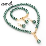 OUMEILY Turkish <b>Jewelry</b> Jewellery Sets For Women Green Nigerian Beads Necklace Wedding Statement Choker <b>Fashion</b> <b>Jewelry</b> Set