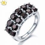 HUTANG Stone <b>Jewelry</b> 4.2ct Natural Black Garnet Solid 925 Sterling <b>Silver</b> Ring Gemstone Fine <b>Jewelry</b> Women's Christmas Gift