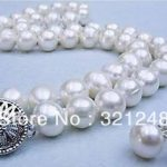 new beads 2014 DIY Natural 9-10mm White Freshwater Pearl Necklace earring Set beads <b>jewelry</b> <b>making</b> MY2083
