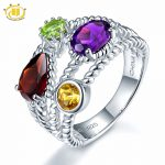 Hutang Stone <b>Jewelry</b> Multi Natural Gemstone Garnet African Amethyst Solid 925 Sterling <b>Silver</b> Ring Fine <b>Jewelry</b> Best Gift New