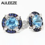 100% Natural 2.4cttw Blue Topaz Stud Earrings Genuine 925 <b>Sterling</b> <b>Silver</b> Vintage Gemstone Earrings Fine <b>Jewelry</b> Women Gift