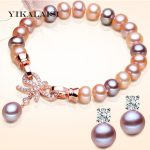 YIKALAISI 2017 Charm <b>Bracelet</b> Pearl Jewelry Natural Freshwater Pearl <b>Bracelet</b> 925 Sterling <b>Silver</b> Jewelry <b>Bracelet</b> For Women
