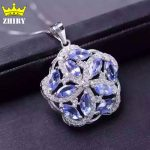 Women Natural Tanzanite Gems Stone Pendant 925 <b>Sterling</b> <b>Silver</b> Necklace Present <b>Jewelry</b>