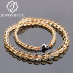 6-10mm 46cm Natural Citrine Crystal <b>Necklace</b> Cutting <b>Silver</b> <b>Necklace</b> Natural Stone <b>Necklace</b> Women Gifts