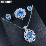 Women Natural Blue Topaz Gem Jewelry Set Solid 925 Sterling <b>Silver</b> Genuine Stone Necklace <b>Earrings</b> Ring Pendant