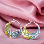 RainMarch Leaf Enamel Silver Earrings For Woman 925 Sterling Silver Earring Cubic Zirconia <b>Handmade</b> Enamel Party <b>Jewelry</b>
