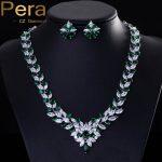 Pera CZ Classic Green Bridal Wedding Costume <b>Jewelry</b> African Nigerian Cubic Zircon Big <b>Necklace</b> And Earrings Sets For Women J038