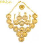 Ethlyn Turkey Coin Necklace/Earring/Ring/Bracelet <b>Jewelry</b> Sets For Women Gold Color Coins Bridal Wedding Party Gifts S181