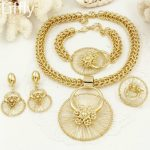 Liffly New Italy <b>Fashion</b> Costume Jewellery African Women Big Necklace Bracelet Rings Earrings Set Dubai Gold Platin <b>Jewelry</b> Sets