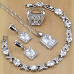 Square 925 Sterling <b>Silver</b> Jewelry White Cubic Zirconia Jewelry Sets For Women Earrings Pendant Necklace Rings <b>Bracelet</b>