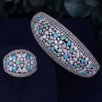 GODKI Multicolor Ice Zirconium Luxury Full Micro Cubic Zirconia Geometry Women Bracelet Bangle Ring Set Dress <b>Jewelry</b> Sets
