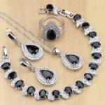 925 Sterling <b>Silver</b> Jewelry Black Cubic Zirconia White CZ Jewelry Sets For Women Party Earrings/Pendant/Necklace/Rings/<b>Bracelet</b>