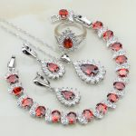 925 Sterling Silver <b>Jewelry</b> Red Crystal White Zircon <b>Jewelry</b> Sets For Women Earrings/Pendant/<b>Necklace</b>/Bracelet Free Gift Box