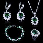 Dubai Style Green CZ White Austrian Crystal 925 Stamp <b>Silver</b> Color Jewelry Sets Earrings/Pendant/Necklace/Rings/<b>Bracelets</b>