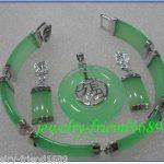 Women's Wedding Silver Green gem Pendant bracelet earring set >AAA GP Bridal wide w silver- real silver-<b>jewelry</b>