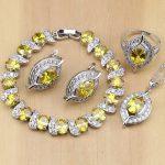 Eye 925 <b>Silver</b> Bridal Jewelry Yellow Zircon Jewelry Sets For Women Wedding Earrings/Pendant/Necklace/Rings/<b>Bracelet</b>