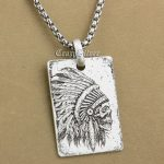 High Detail Deep Engraved 925 Sterling <b>Silver</b> Indian Chief Skull Dog Tag Mens Biker Rocker Punk Pendant 9X002 Steel <b>Necklace</b> 24″