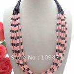 Charming! 5Strsd Coral&Onyx <b>Necklace</b>
