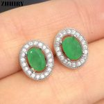 ZHHIRY Real Natural Emerald Genuine Gemstone Solid 925 <b>Sterling</b> <b>Silver</b> Real Earrings Women Fine <b>Jewelry</b>