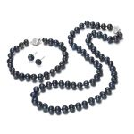 SNH 2017 6-7mm potato AA 925silver real cultured freshwater pearl jewelry genuine Cultured necklace bracelet and <b>earring</b> set