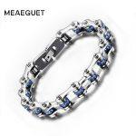 Meaeguet Blue Crystal Bike Chain Bracelets Bangles 316L Stainless Steel Chain Biker Bracelets Men <b>Jewelry</b>