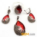 Jewelry Sets: Red Crystal & Antiqued Tibeten <b>Silver</b>: Ring <b>Earrings</b> Pendant Classical Jewelry For Party Free Shipping Hot Item!