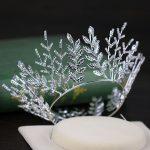 Gorgeous Silver Leaf Rhinestone Bridal Crowns Tiaras Wedding Hair Accessories Womens Princess Crown Hair <b>Jewelry</b> Diadem