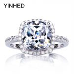 95% OFF !! YINHED Real Solid 925 <b>Sterling</b> <b>Silver</b> Engagement Ring 4 Carat Cubic Zirconia CZ Wedding Rings for Women <b>Jewelry</b> ZR274