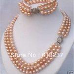 new 2014 Fashion Style Natural 3 Rows 7-8mm Pink Akoya Pearl Necklace Bracelet beads <b>jewelry</b> <b>making</b> YE2130