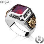 MetJakt Vintage Men's Ruby Ring Solid 925 <b>Sterling</b> <b>Silver</b> Ring for Men Punk Fine <b>Jewelry</b>