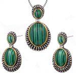 Vintage Malachite Pendant&Earrings Women 925 Sterling <b>Silver</b> Fashion Jewelry Set Pendant&Earrings TT698