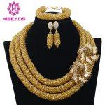 2017 Hot Nigerian Beads Necklace <b>Handmade</b> Braid Beads African <b>Jewelry</b> Set Gold Bridal Lace <b>Jewelry</b> Sets Free Shipping ABF360