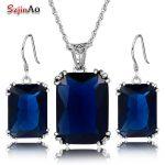 Szjinao Handmade Blue Crystal <b>Jewelry</b> Sets Pirate Ship 925 <b>Sterling</b> <b>Silver</b> Pendant Victoria Vintage Earrings For Women Gift