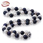Fashion 18inch 100% Natural White &black Freshwater Pearl <b>Necklace</b> Women Lady Girl Lover Gift Free shipping