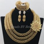 <b>Handmade</b> Gold Brown Crystal Bridal <b>Jewelry</b> Sets 2017 African Wedding Beads Nigerian Party Women <b>Jewelry</b> Set Free Shipping ABF977