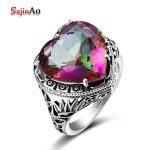Szjinao 925 Sterling <b>Silver</b> Vintage <b>Jewelry</b> For Women Alluring Charms Heart 6.7ct Rainbow Mystic Topazl Wedding Rings