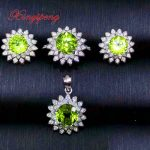 Xin yi peng 925 <b>silver</b> inlaid natural peridot pendant <b>earrings</b> ring jewelry sets three-piece woman anniversary gift