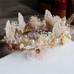 <b>Handmade</b> Shell and Flower Wedding Bridal Tiara Headbands Bride Women Prom Party Tiara Crown Hair <b>Jewelry</b> Accessories
