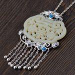FNJ 925 <b>Silver</b> Statement Pendant for <b>Jewelry</b> Making Natural Jade Original Pure S925 Sterling <b>Silver</b> Flower Bird Pendants Women
