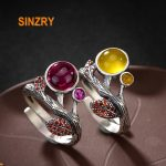 Sinzry elegant <b>handmade</b> 925 sterling silver retro rhinestone natural stone leaf design rings lady fine <b>jewelry</b> Rings for Women
