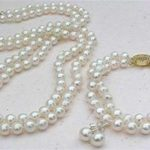 2 Rows White 8mm Shell Pearl <b>Necklace</b>(18inch) Bracelet(7.5inch) Earring Beads Fashion Jewerly Set Natural Stone