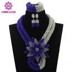 Latest Royal Blue/<b>Silver</b> Beauty Jewelry Set African Bride Crystal Floral Costume Necklace Set Flower Brooch Free Shipping WD351