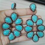 <b>Handmade</b> <b>Jewelry</b> Water Drop Natural Blue Turquoises Stone Pave Rhinestone XL Big Hyperbole Long Drop Dangle Earrings For Women