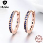 2018 Summer Collection 925 Sterling Silver Blue Clearly CZ Round Circle Small Simple Hoop Earrings Women <b>Fashion</b> <b>Jewelry</b>