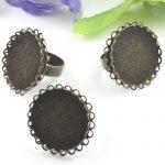 50pcs Cabochon 25mm Lace Pad ring blank with Cameo Tray,AntiqueBronze Ring setting,<b>Handmade</b> DIY Zakka <b>jewelry</b> Finding
