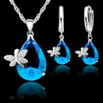 JEXXI Elegant Wedding <b>Jewelry</b> Sets For Brides 925 Sterling <b>Silver</b> Water Drop Crystal Pendant And Earring Set For Women Bijoux
